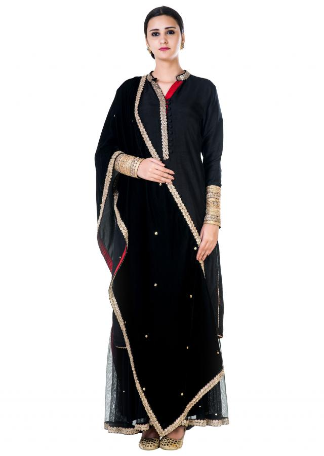 Embroidered  Black Double Layer Dress with a Black Dupatta