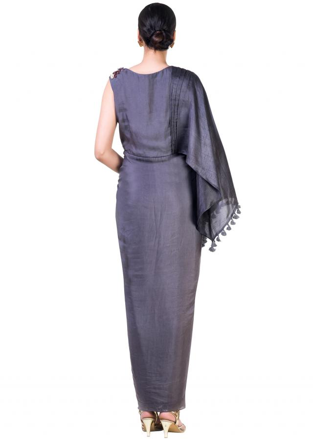 Charcoal Grey Asymmetrical Cape Draped Gown With Embroidery Work Online - Kalki Fashion