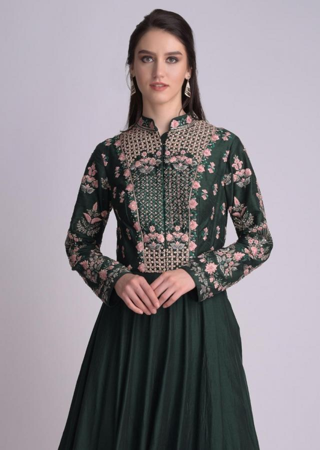 Emerald Green Anarkali Suit In Raw Silk With Floral Embellished Bodice Online - Kalki Fashion
