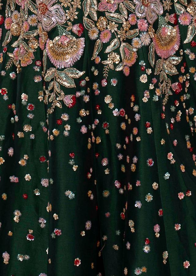 Emerald green raw silk gown with floral embroidered waist and bodice only on kalki