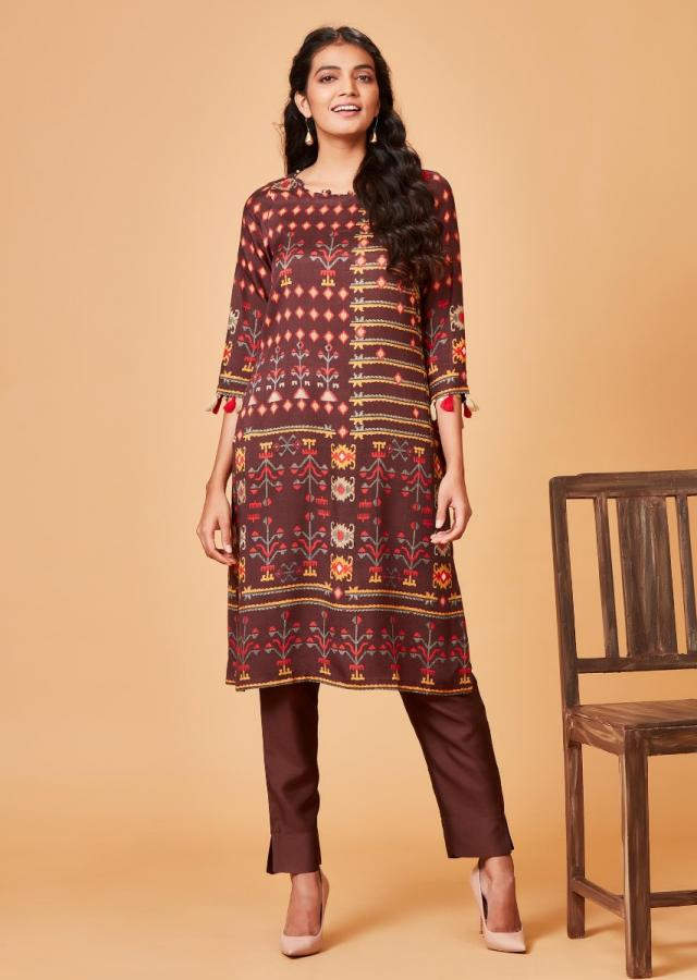 Espresso Brown Straight Cut Suit With Tribal Print And Tassels Online - Kalki Fashion