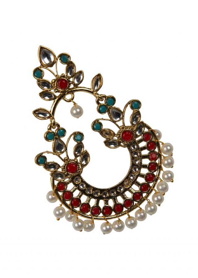 Ethnic red and turquoise chandbaalis only on Kalki