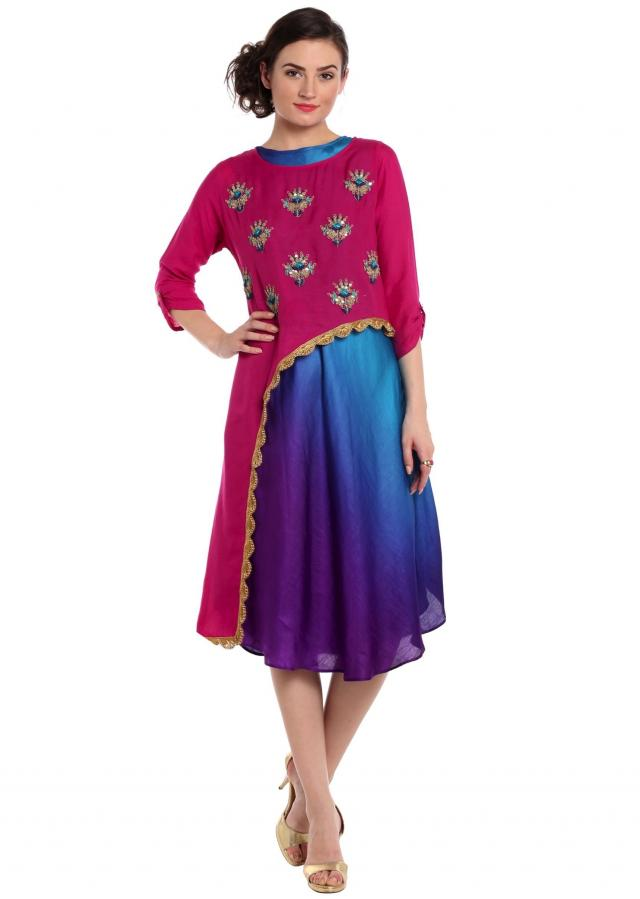 Fancy Asymmetric Kurti In Rani Pink With Embroidered Butti Online - Kalki Fashion