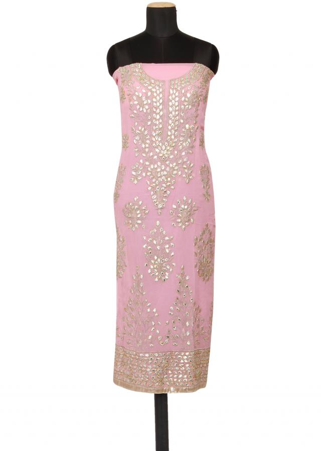 Featuring a baby pink georgette unstitched salwar kameez embellished in gotta patti only on Kalki