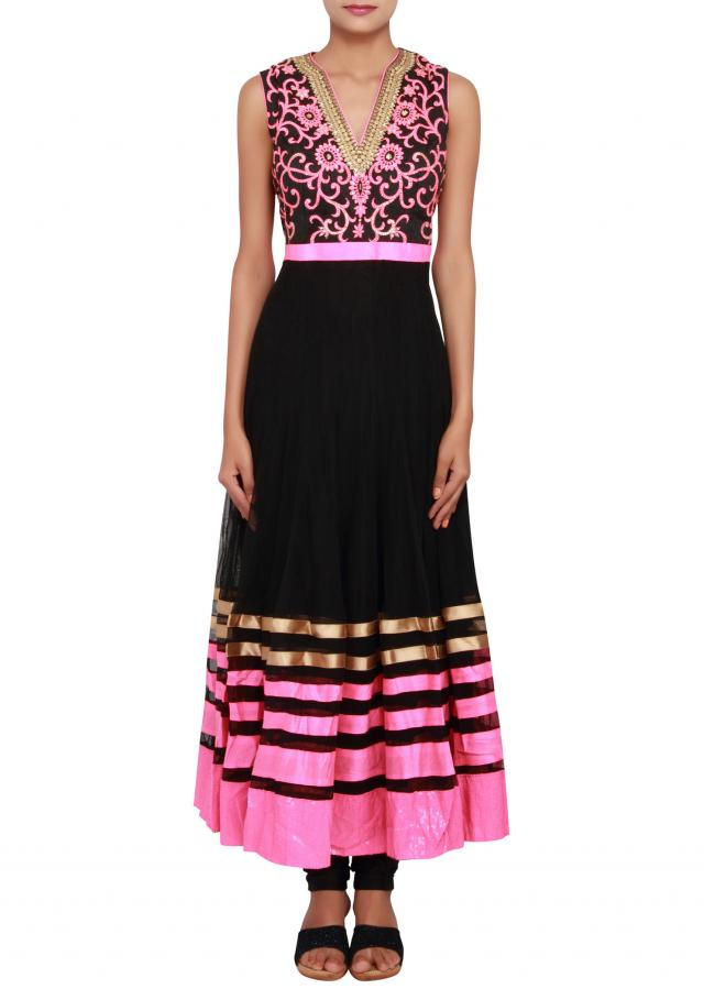 Featuring a black net anarkali embellished in pink thread work and gold zari work only on Kalki