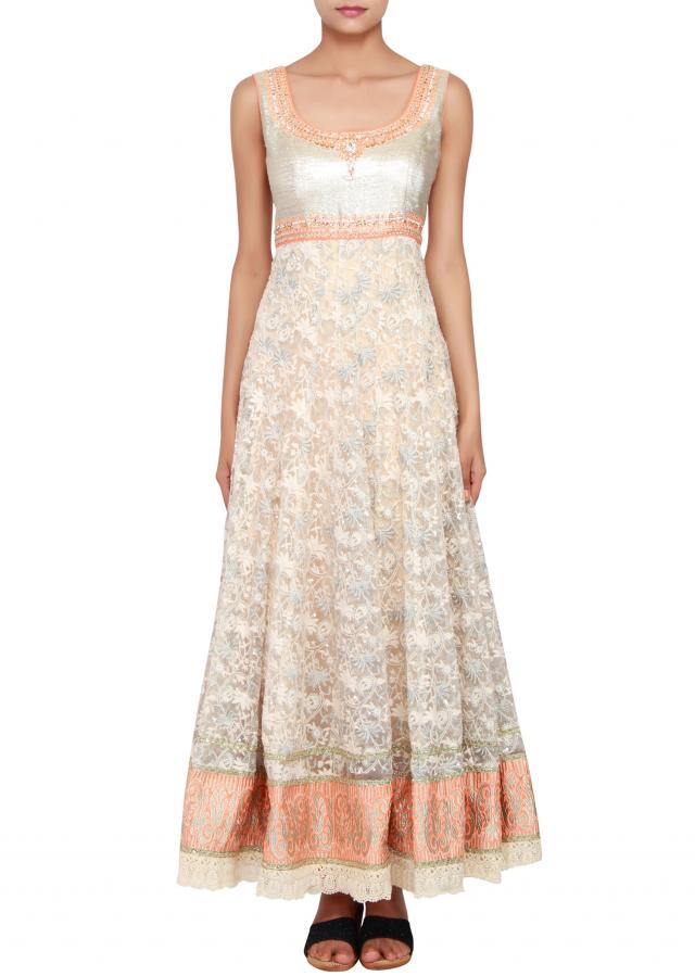 Featuring a cream net anarkali embellished in thread and zari work only on Kalki