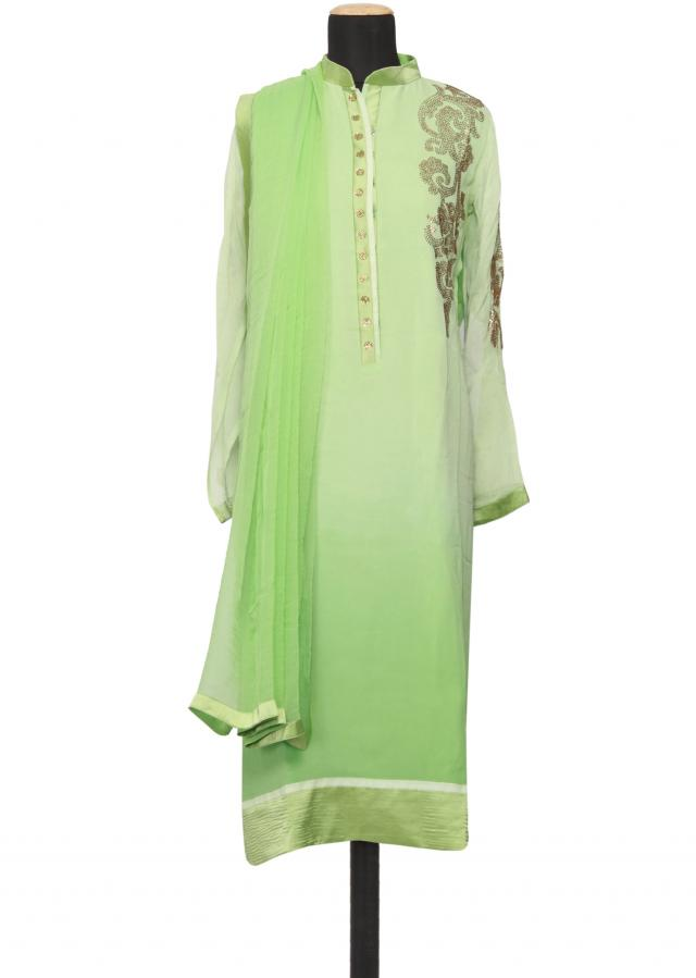 Featuring a mint georgette straight cut semi stitched salwar kameez embellished in kundan only on Kalki