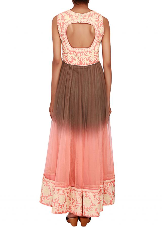 Featuring a peach and brown shaded anarkali embellished in white thread work only on Kalki