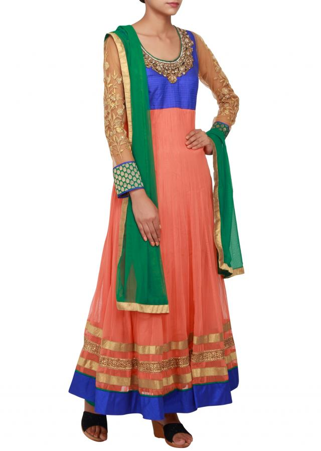 Featuring a peach raw silk anarkali embellished in zari and zardosi only on Kalki