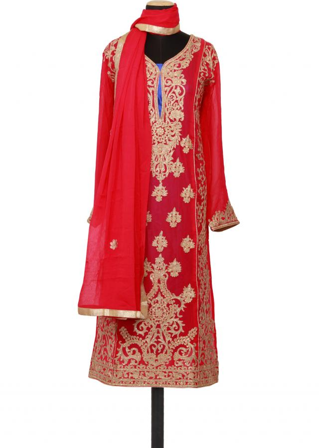 Featuring a pink georgette straight cut semi stitched salwar kameez embellished in zari and kundan only on Kalki