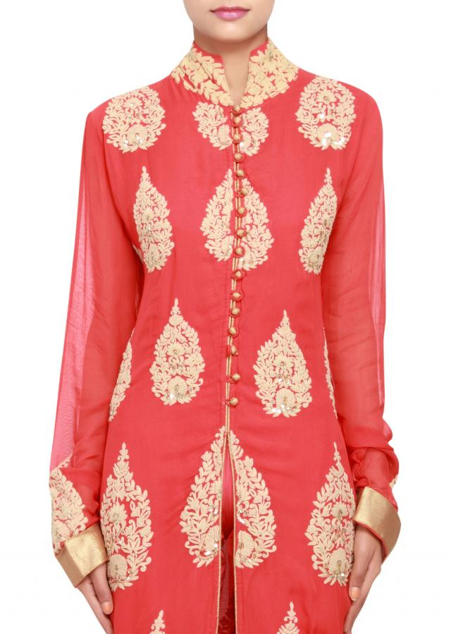 Featuring a red georgette straight-cut suit embellished in thread and sequence work only on Kalki