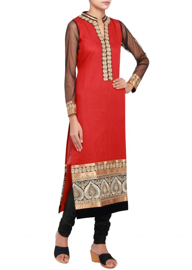 Featuring a red straight cut suit in silk embellished in zari and kundan work only on Kalki