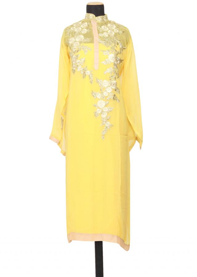 Featuring a yellow georgette straight cut semi stitched salwar kameez embellished in resham embroidery only on Kalki