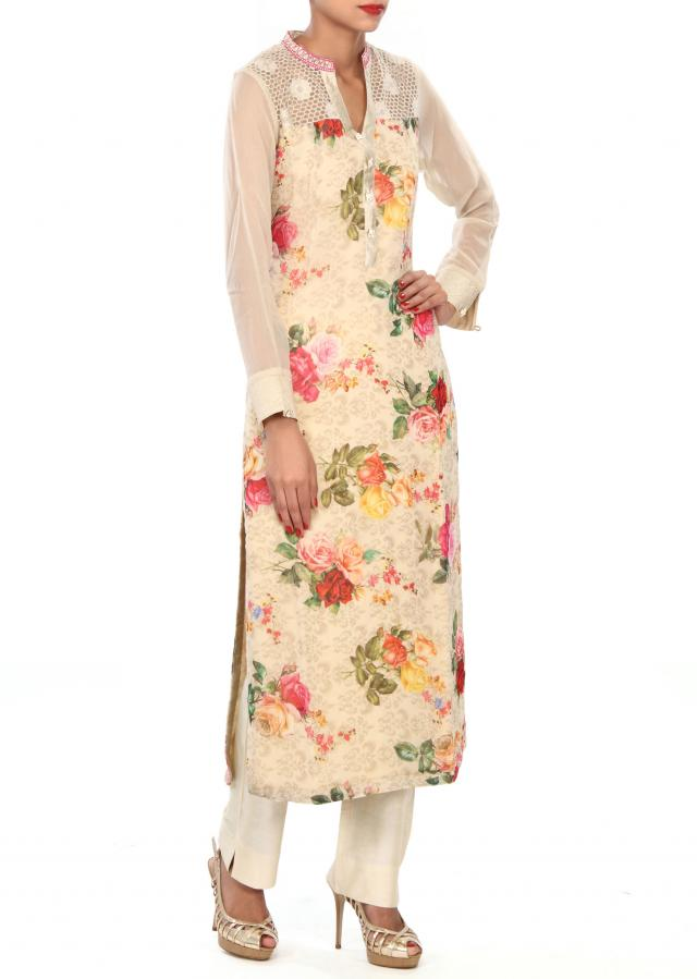 Featuring beige printed suit in resham embroidery only on Kalki