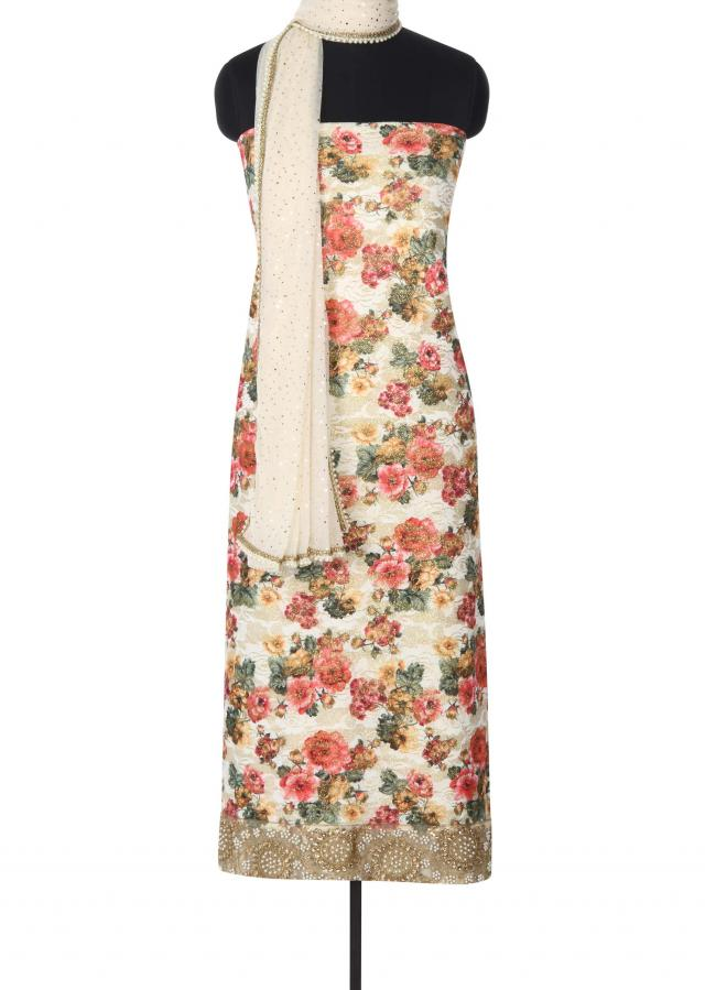 Featuring floral printed unstitched suit with border only on Kalki