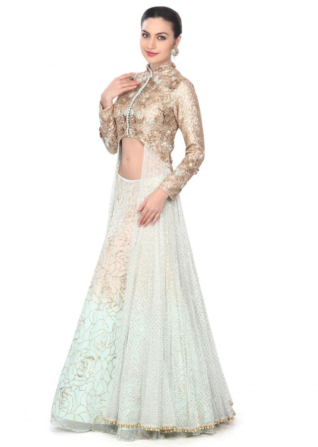 Featuring long jacket lehenga in sequin and zardosi work only on Kalki