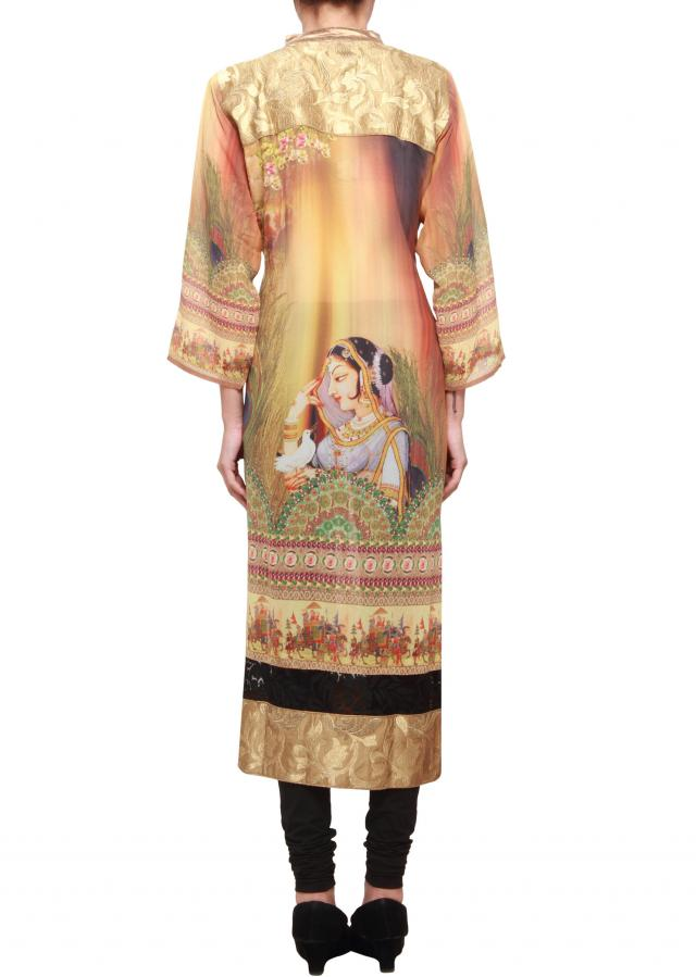Featuring multi coloured printed silk kurti only on kalki