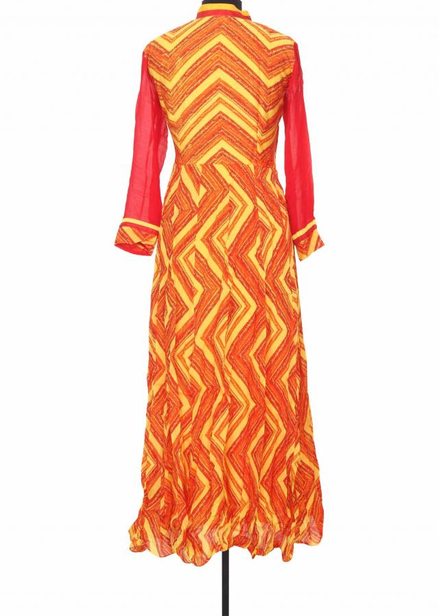 Featuring orange and yellow printed kurti only on Kalki