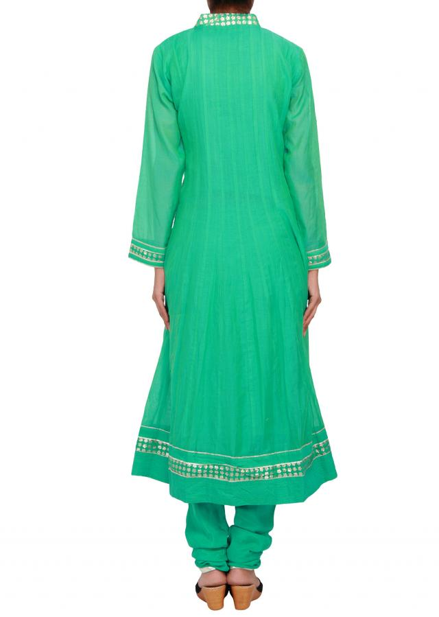 Featuring green cotton anarkali embellished in gotta patti only on Kalki