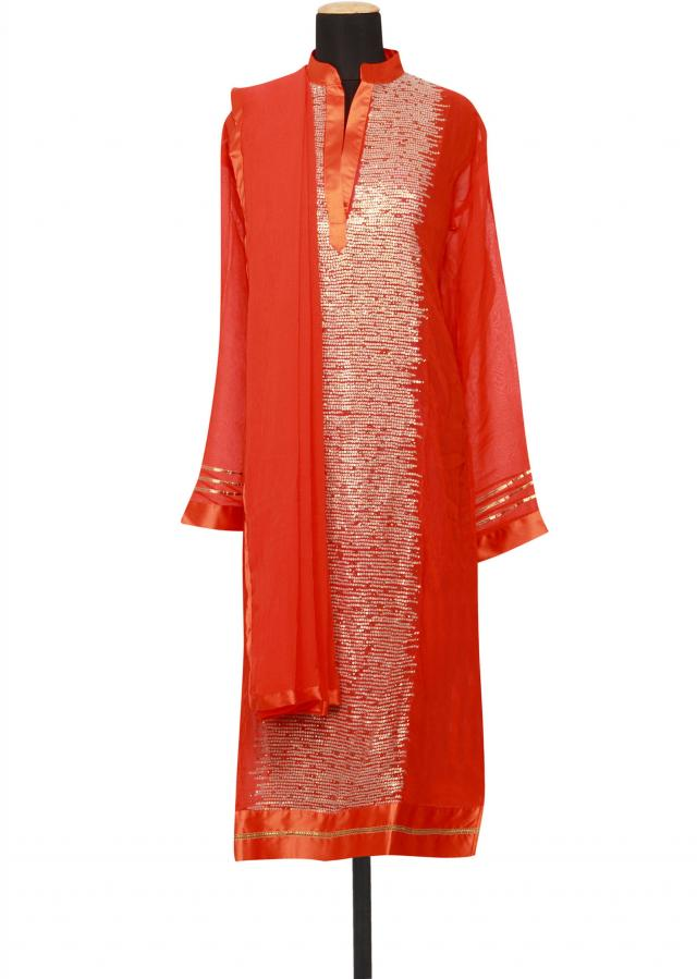 Featuring orange georgette straight fit semi stitched salwar kameez embellished in sequin only on Kalki