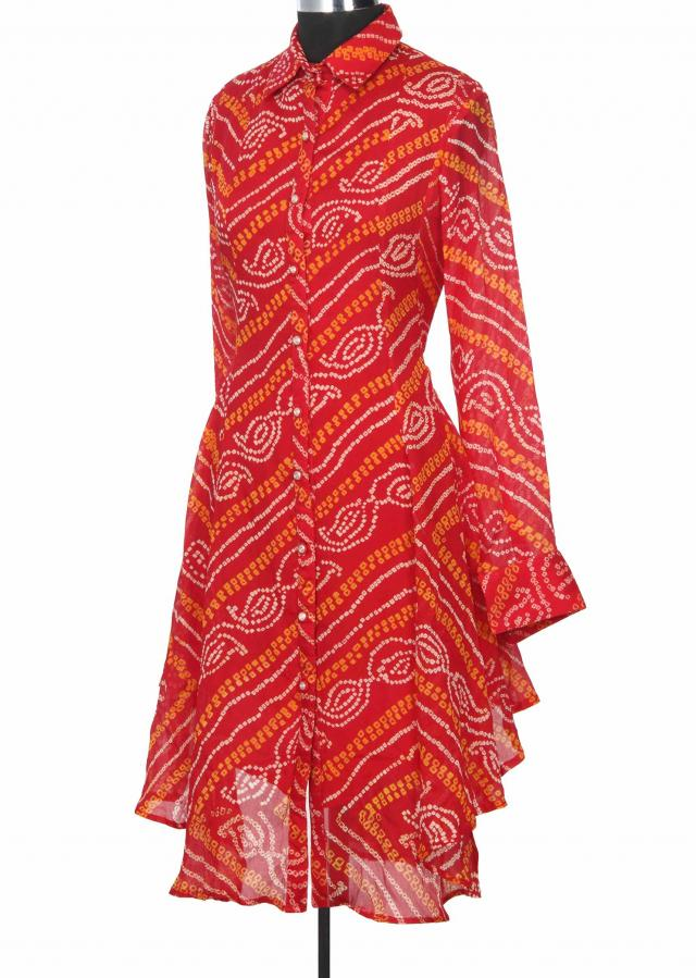 Featuring red bandhani printed kurti only on Kalki