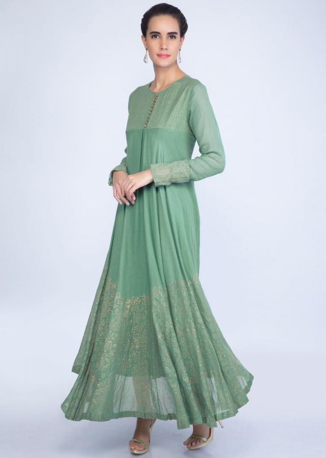 Fern green cotton dress in foil print only on kalki