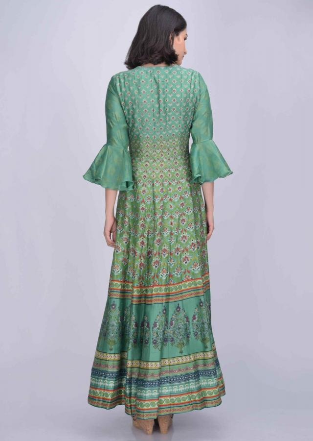 Fern green cotton silk anarkali suit with patola print only on Kalki