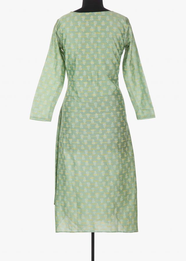 Fern green printed kurti with cod embroidered butti only on Kalki