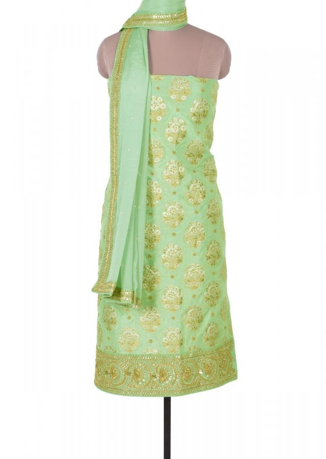 Fern Green Unstitched Suit In Santoon With Floral Weaved Butti Online - Kalki Fashion