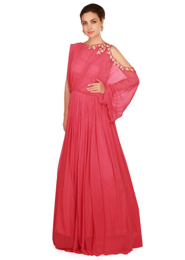 Fiesta red gown in fancy drape and embroidered cut out only on Kalki