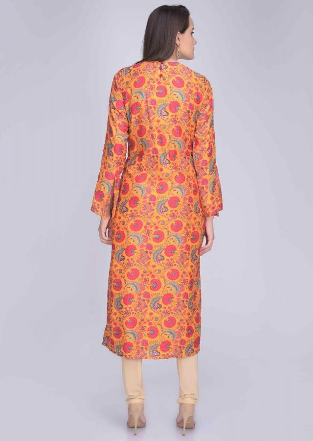 Fire Yellow Kurti In Embroidered Crepe With Floral Digital Print Online - Kalki Fashion