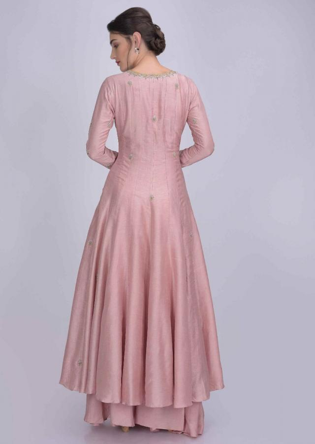 Flamingo Pink Anarkali Suit In Cotton Silk With Flared Palazzo Bottoms Online - Kalki Fashion
