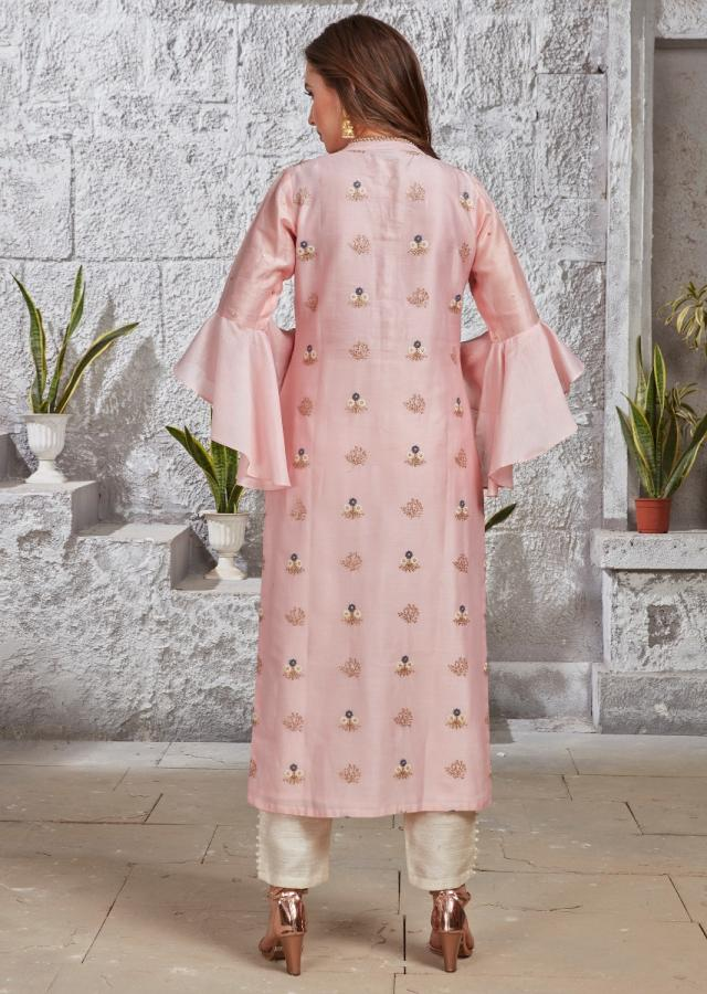 Flamingo Pink Straight Cut Suit In Cotton Silk With Off White Straight Cut Pants And Rhino Grey Silk Dupatta Online - Kalki Fashion