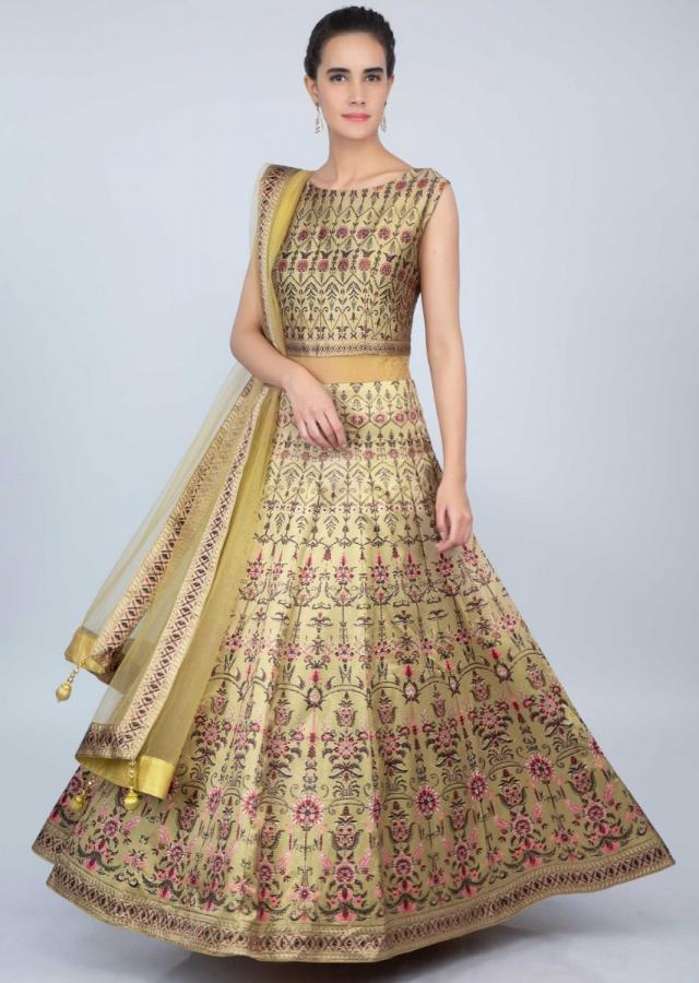 Flaxen Gold Anarkali Suit In Satin With Digital Print Online - Kalki Fashion