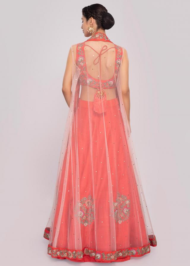 Coral Lehenga Set With Floral Embroidery Work Paired With Long Net Jacket Online - Kalki Fashion