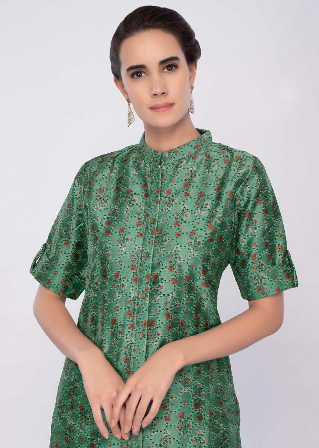 Forest green jacquard cotton kurti with floral print only on Kalki