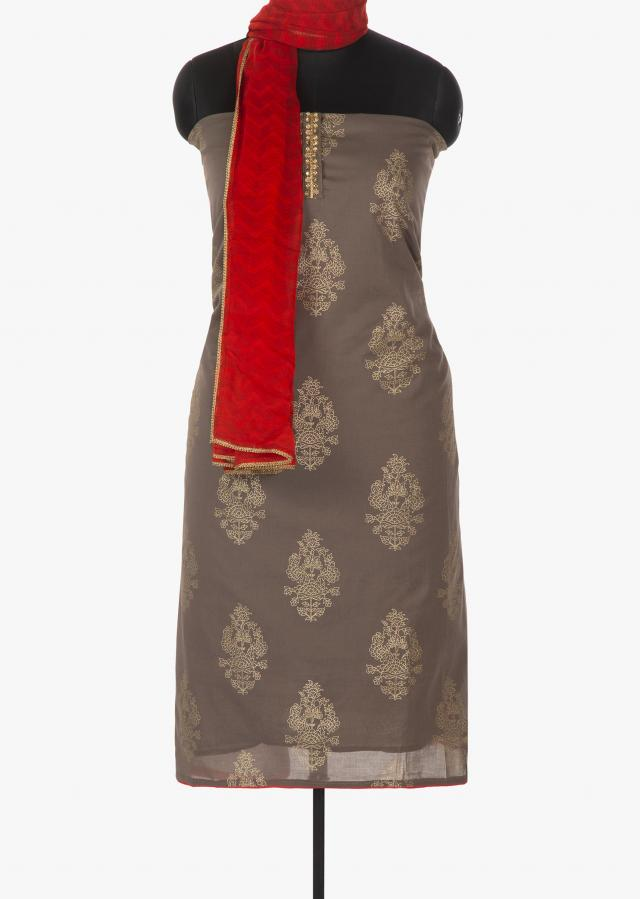 Fossil grey unstitched printed suit with embroidered placket only on Kalki