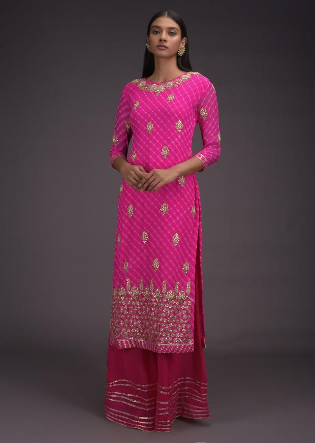 French Rose Pink Palazzo Suit With Lehariya Print And Gotta Work Floral Buttis And Hem Online - Kalki Fashion