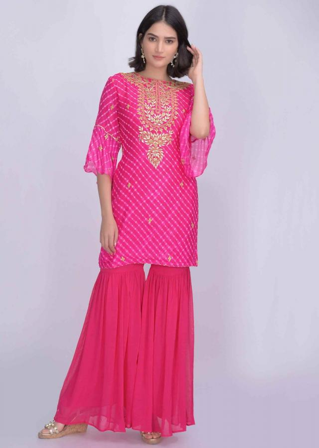 Fuchsia Sharara Suit In Chiffon With Lehariya Print Online - Kalki Fashion