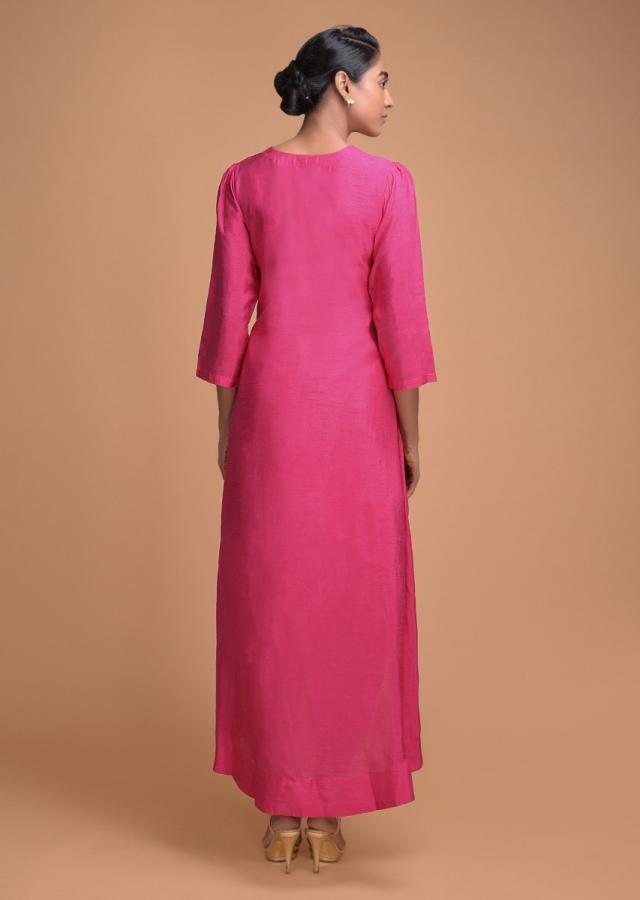 Fuchsia Dhoti Suit With High Low Hemline And Embellished Geometric Buttis Online - Kalki Fashion