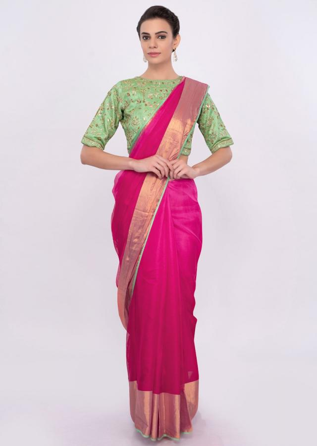 Fuchsia pink chanderi silk saree with golden border only on Kalki