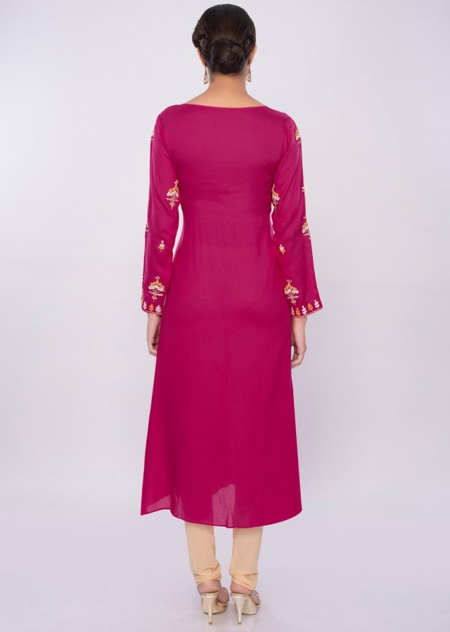 Fuchsia pink cotton kurti with floral butti only on Kalki
