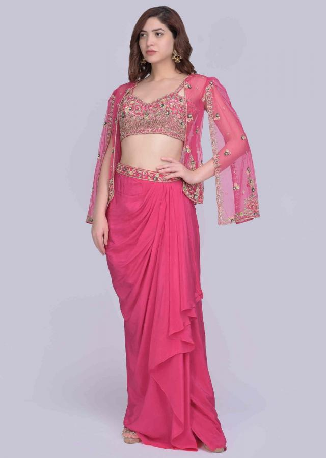 Niti Taylor In Kalki Azalea Pink Cowl Dhoti and Hand Embroidered Crop Top And Cape Jacket