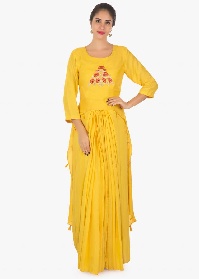 Full length Mustard suit with resham floral embellished with zardosi work only in kalki
