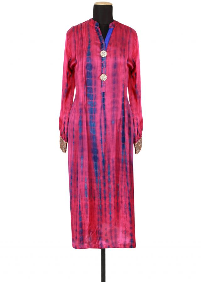 Fuschia and blue satin a-line kurti embellished in batik only on Kalki