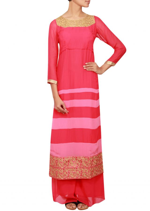 Fuschia georgette a-line salwar kameez embellished in zari only on Kalki