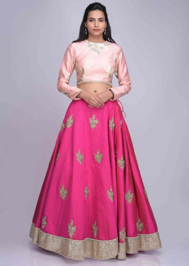0ce12d8ca3 Fuschia pink raw silk lehenga with floral printed draped cotton dupatta only  on Kalki
