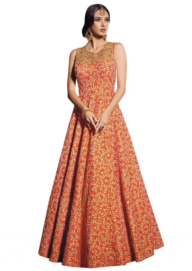 orange anarkali suit adorn in zari and zardosi only on Kalki