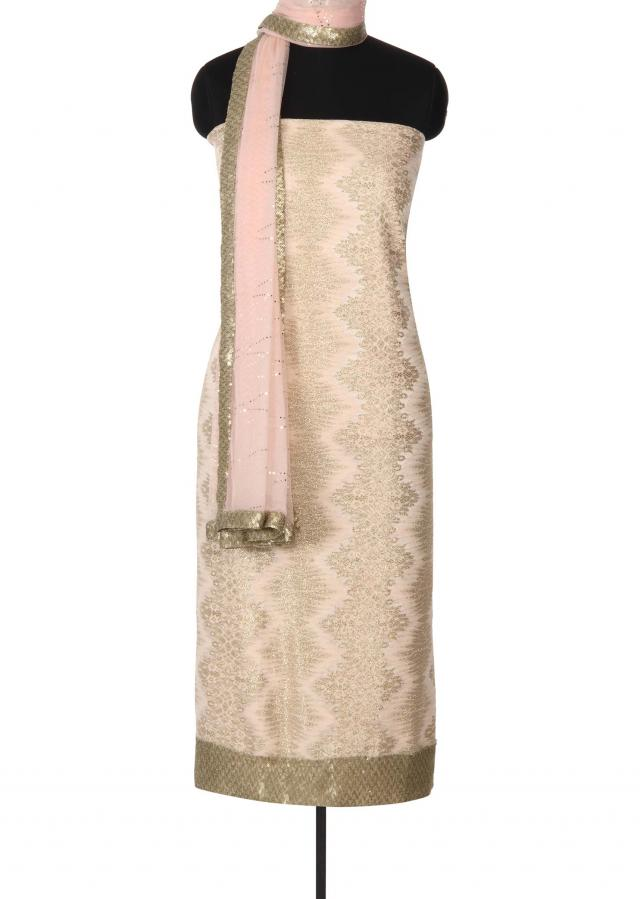 Gold and pink unstitched suit adorn sequin border only on Kalki