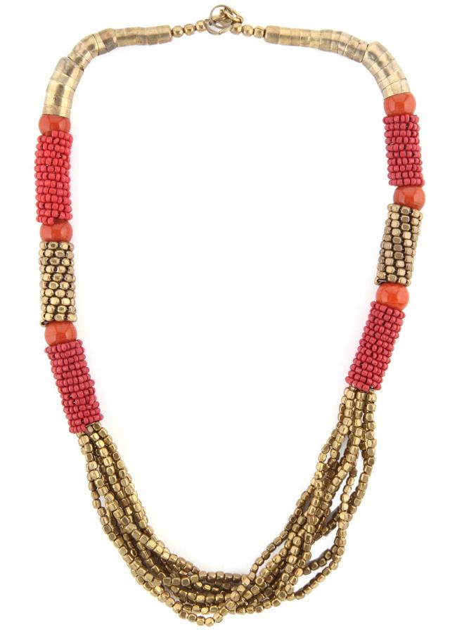 Gold and red moti embellished necklace only on Kalki